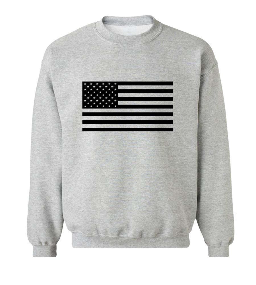 USA Flag Military Crew Neck Sweatshirt