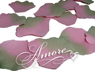 600 Wedding Silk Rose Petals Green-Pink