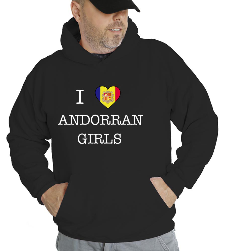 I Love Andorra Girls Hooded Sweatshirt