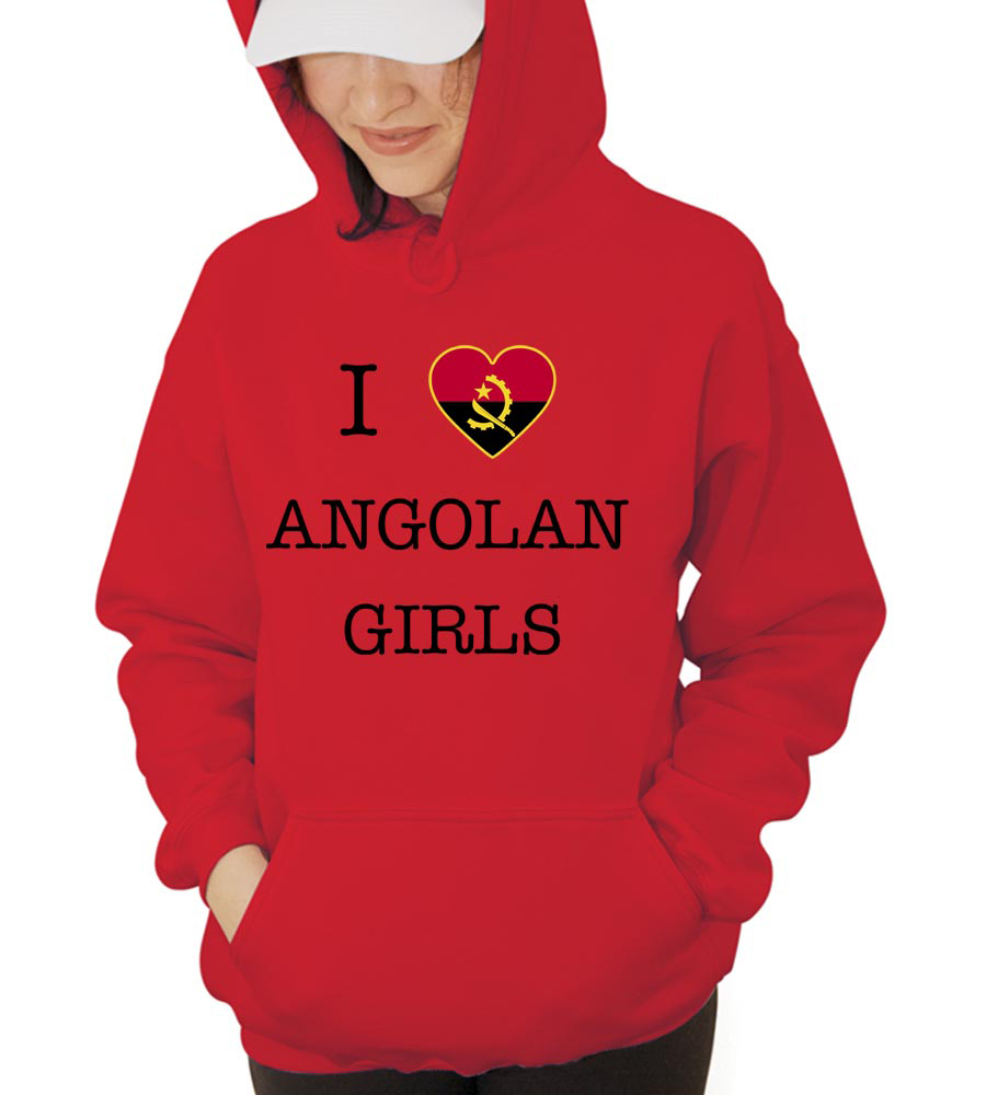 I Love Angola Girls Hooded Sweatshirt