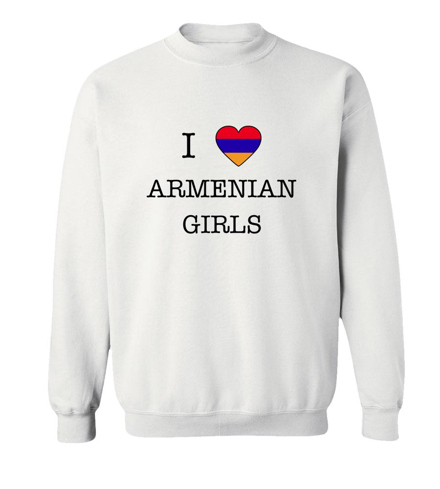 I Love Armenia Girls Crew Neck Sweatshirt