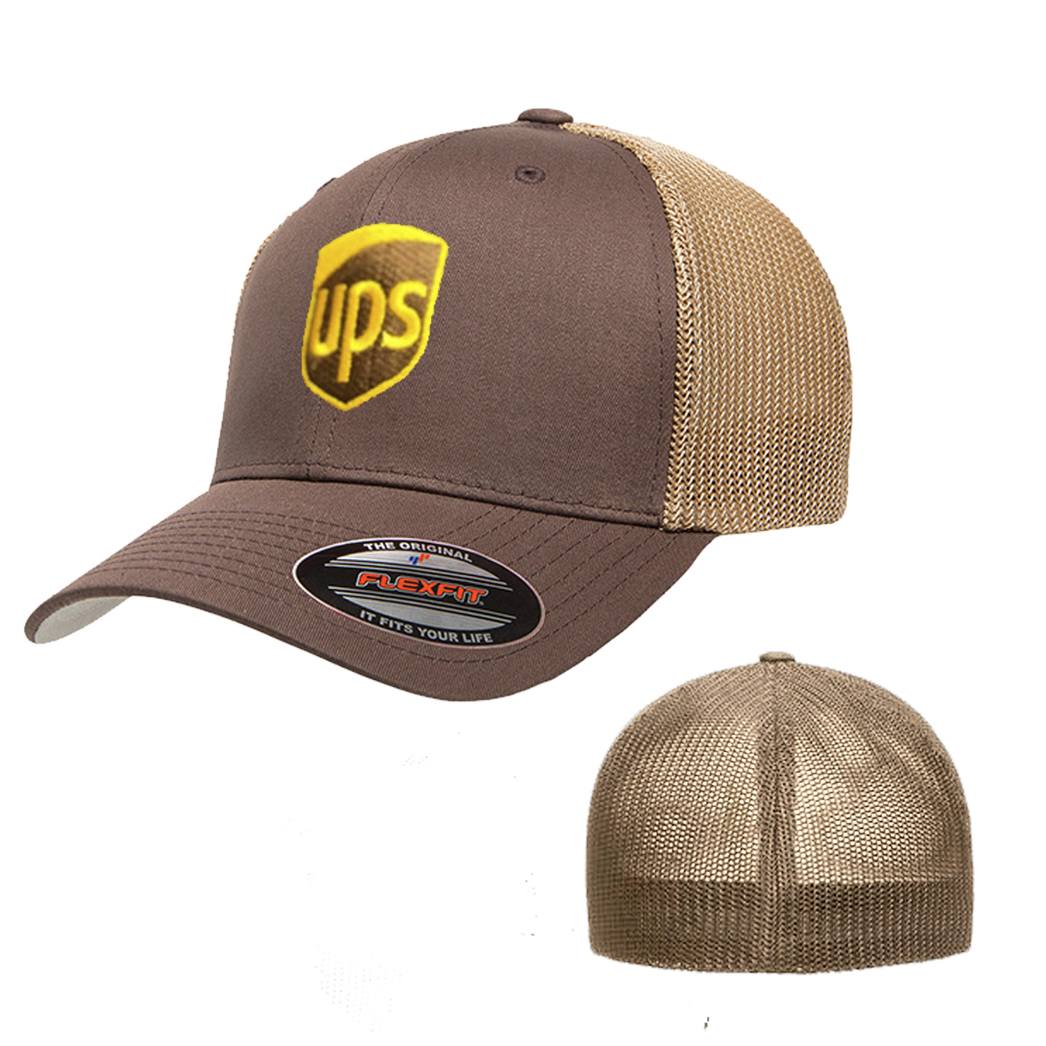 UPS Embroidered Mesh Snapback Yupoong Adjustable Trucker Brown Hat