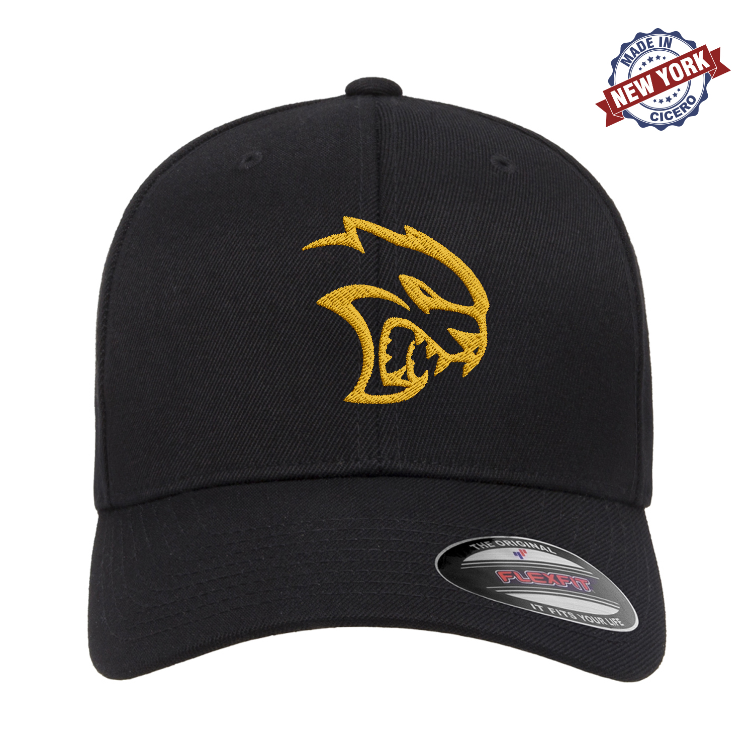 Dodge Hellcat Challenger Charger Emblem Embroidered FlexFit Fitted Hat Mopar SRT Red Black