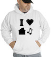 I Love House Music Hooded Sweatshirt