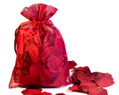 Burgundy Silk Rose Petals Wedding in Organza Bag 150