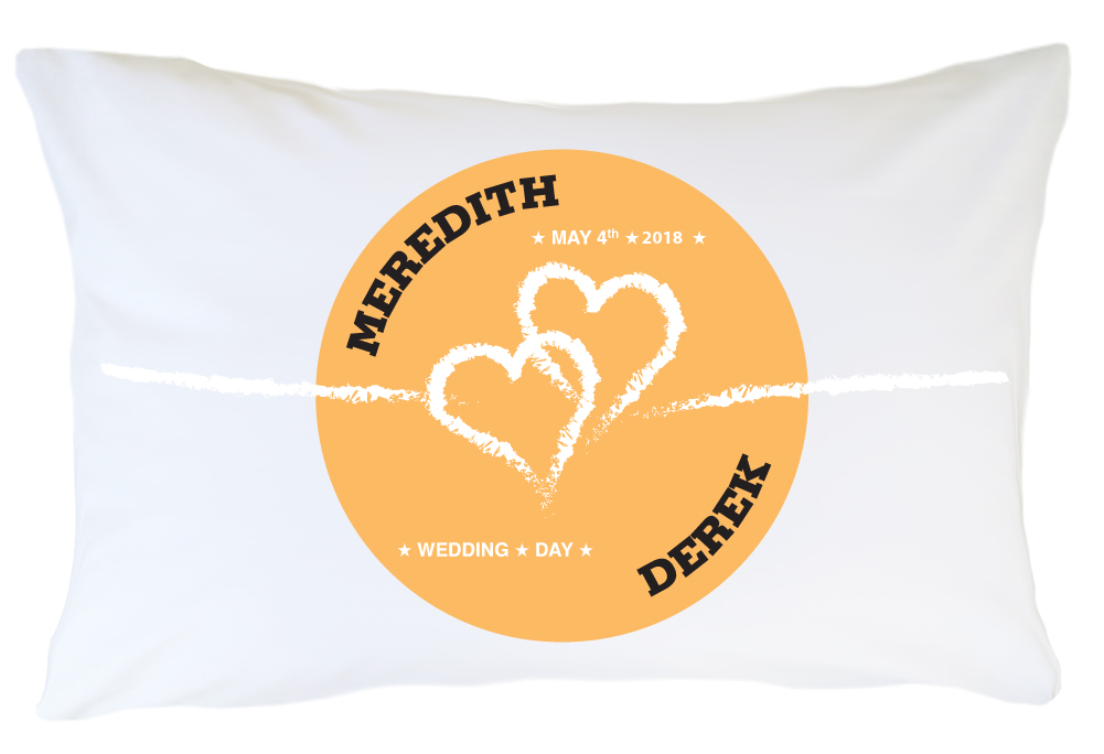 Personalized Pillow Case Set- Two Hearts