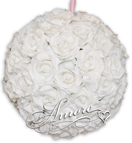 White Silk Pomander Kissing Ball Wedding 8 inches