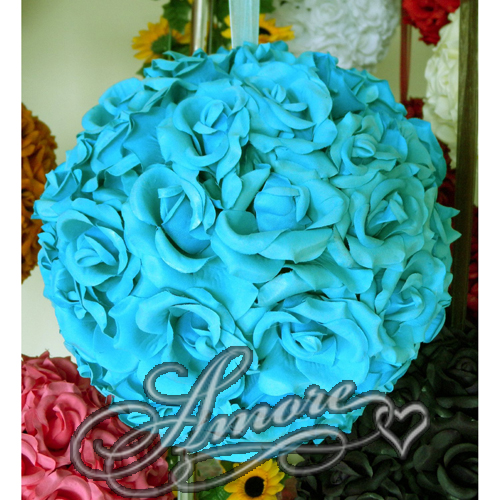Tiffany Blue Silk Pomander Kissing Ball Wedding 8 inches