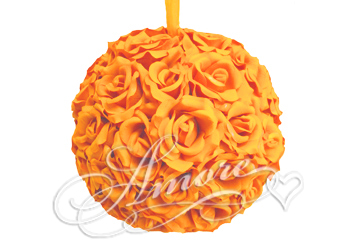 Popsicle Tangerine Silk Pomander Kissing Ball Wedding 6 inches