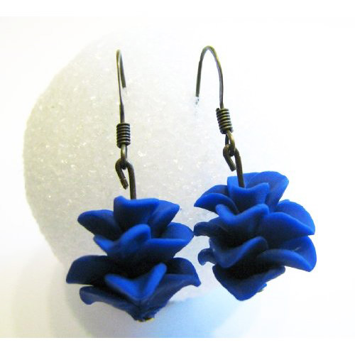 Blue Handmade Polymer Clay Bridesmaid Earrings