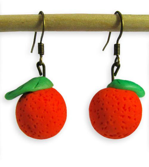 Orange Valentines Day Handmade Polymer Clay Earrings