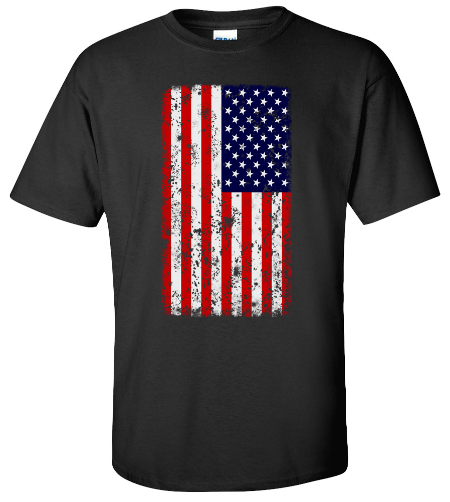 American Flag Distressed USA Flag Tattered Patriotic America Men's T-shirt