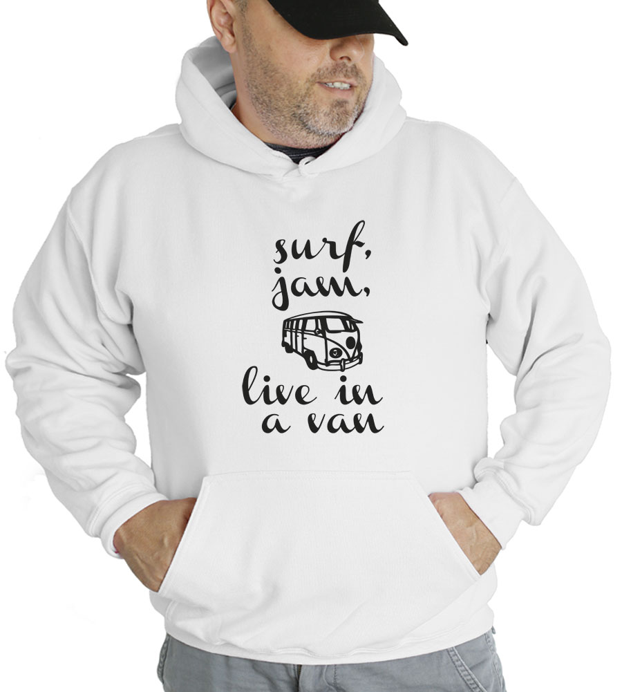 Surf Jam, Live In A Van Hooded Sweatshirt