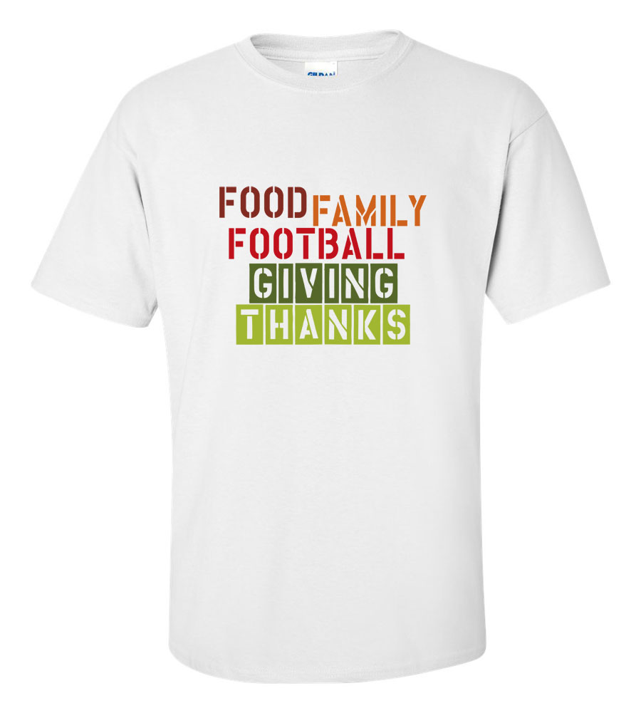 Food Family Football Giving Thanks Thanksgiving T-Shirt