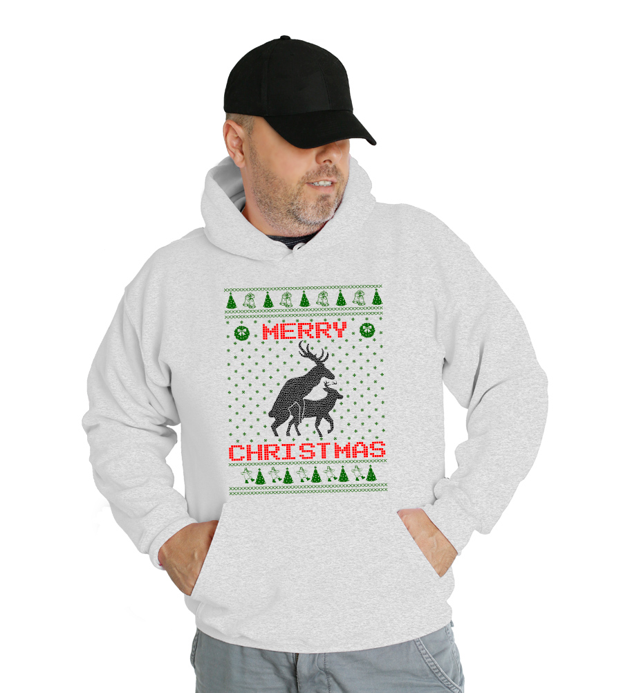 Reindeer Humping Merry Christmas Hooded Sweatshirt