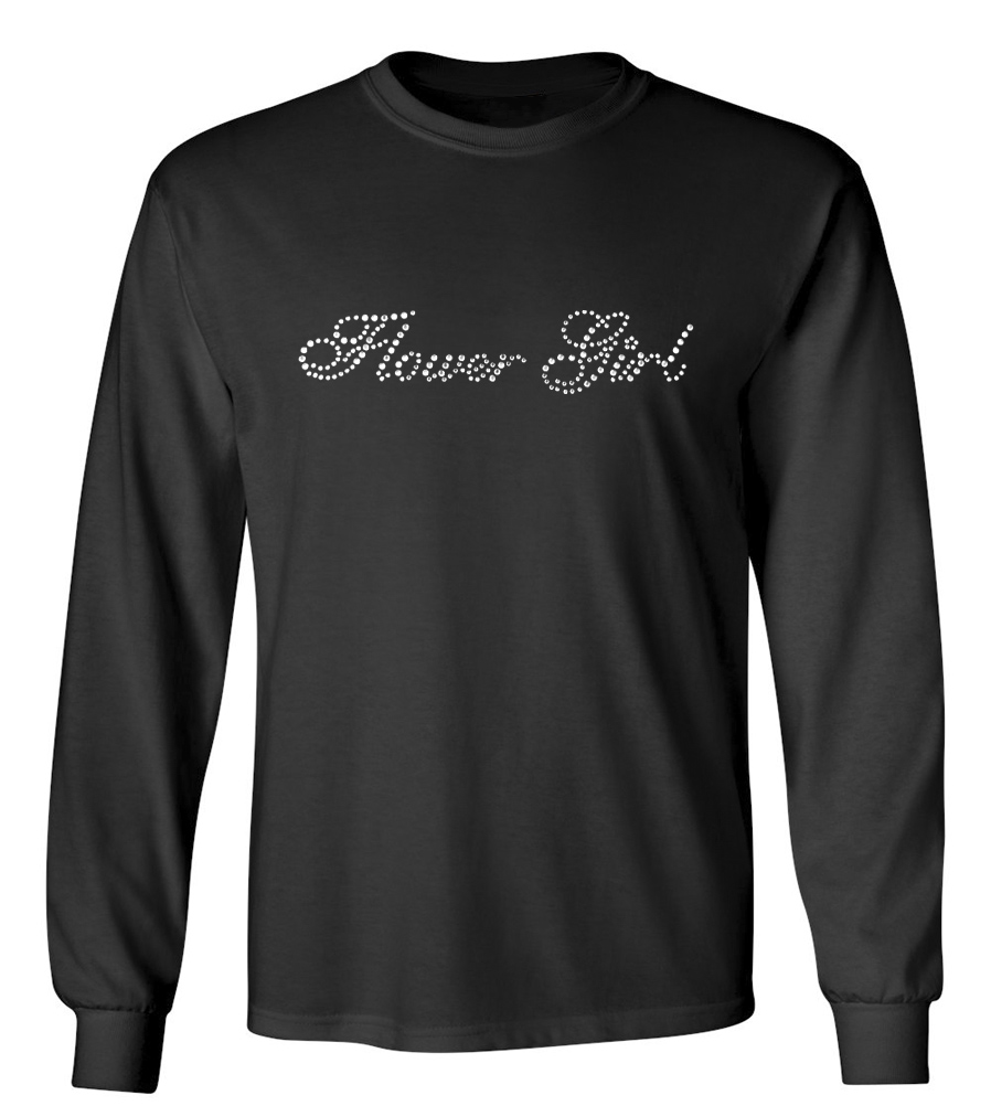 Flower Girl Rhinestones Wedding Long Sleeve T-Shirt