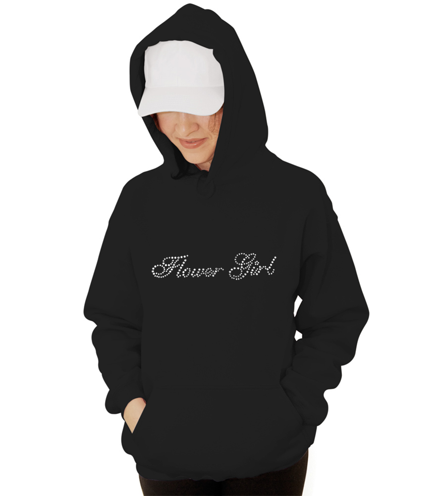 Flower Girl Rhinestones Wedding Hooded Sweatshirt