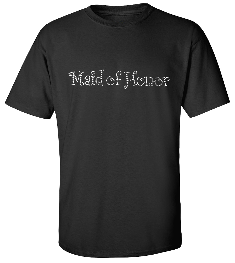 Maid of Honor Rhinestones Wedding T-shirt