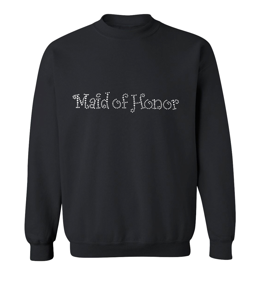Maid of Honor Rhinestones Wedding Crew Neck Sweatshirt