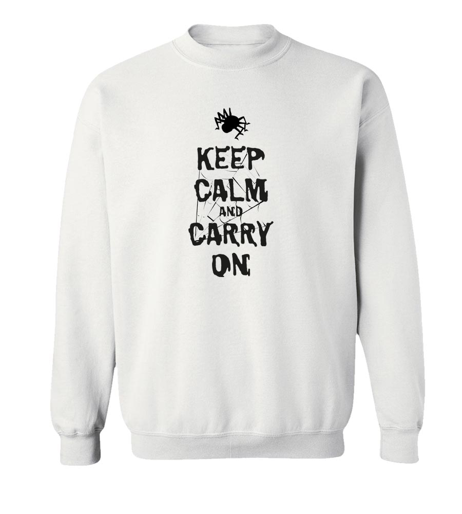 Halloween Spider Keep Calm And Carry On Crew Neck Sweatshirt