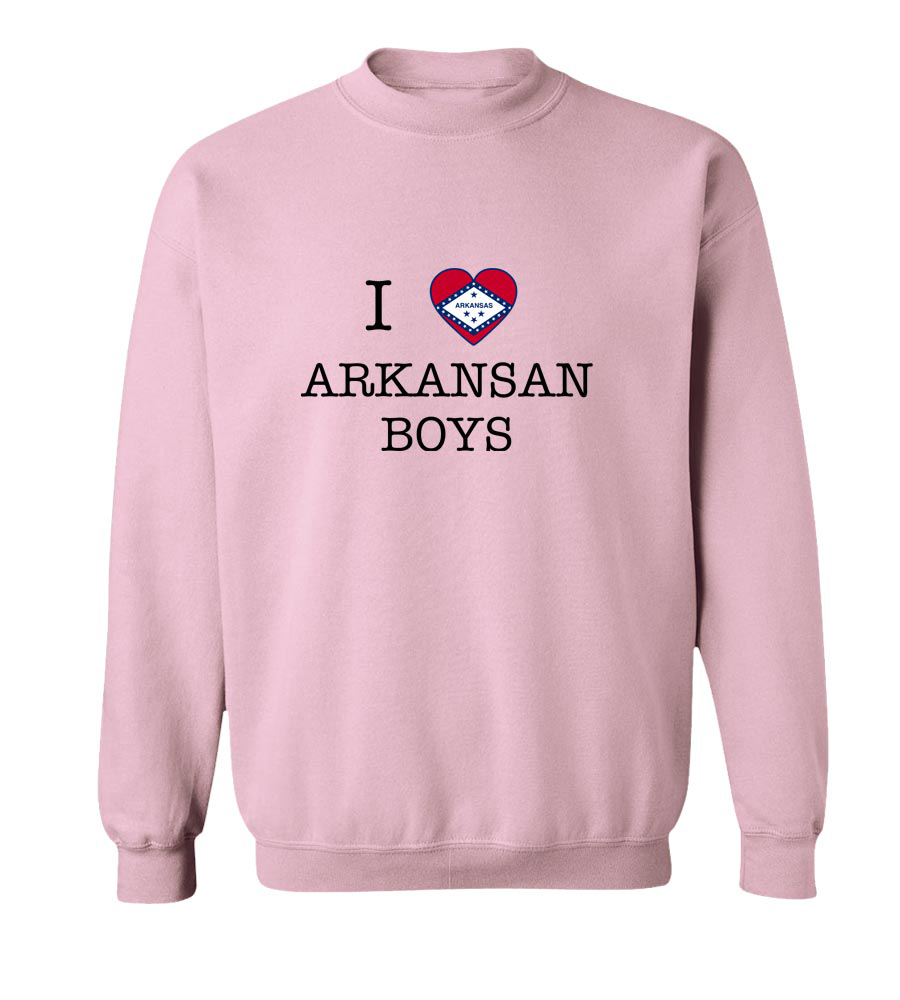 I Love Arkansas Boys Crewneck Sweatshirt