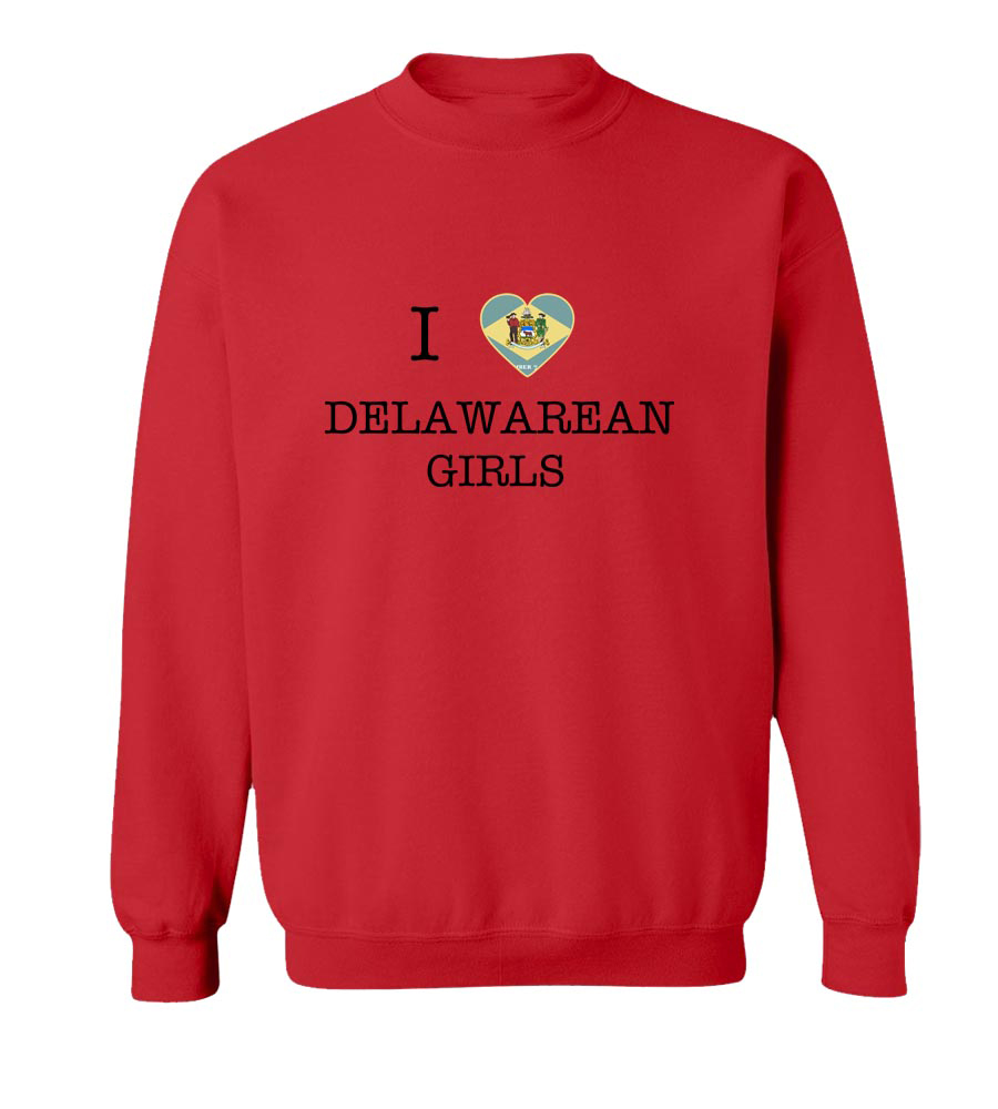 I Love Delaware Girls Crewneck Sweatshirt