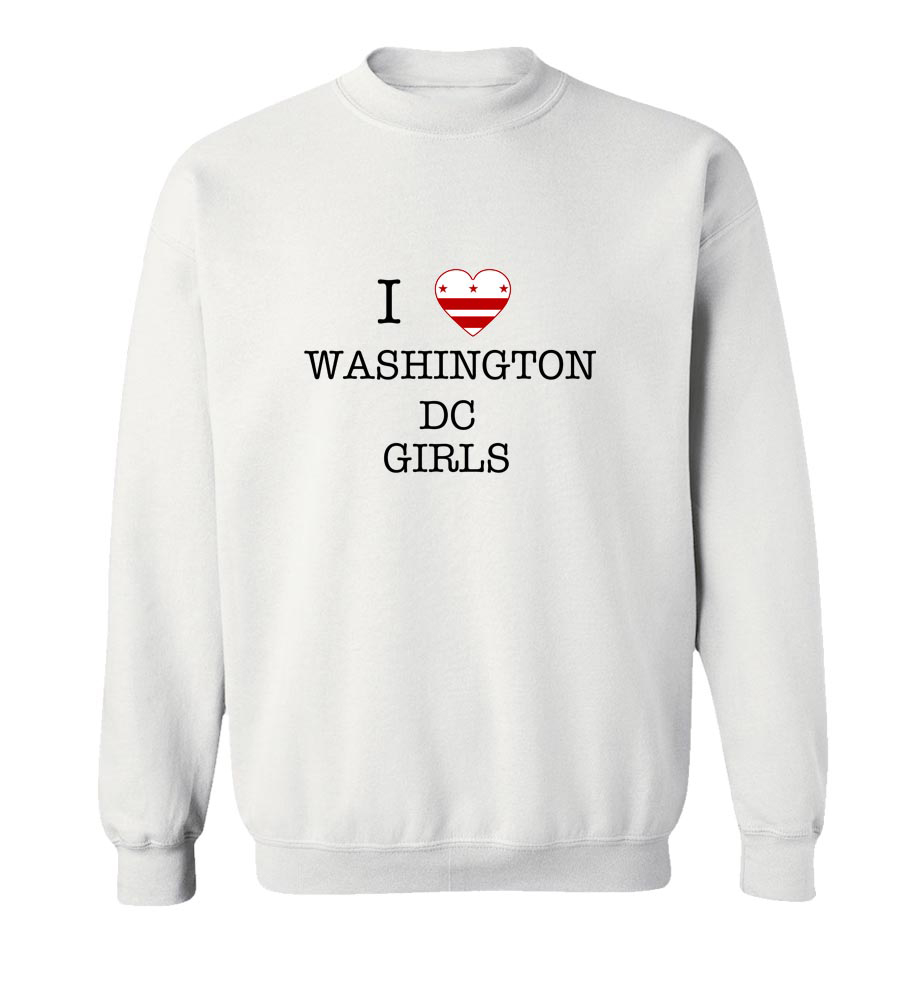 I Love Washington Dc Girls Crew Neck Sweatshirt