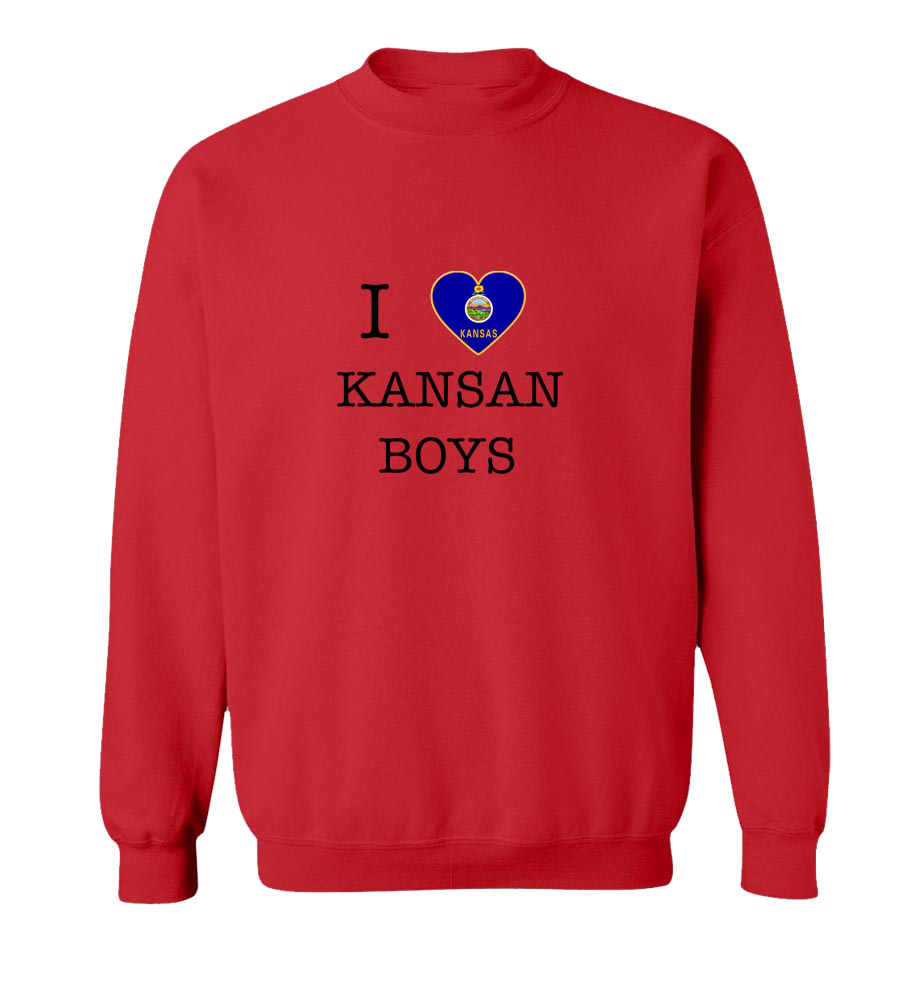 I Love Kansas Boys Crew Neck Sweatshirt