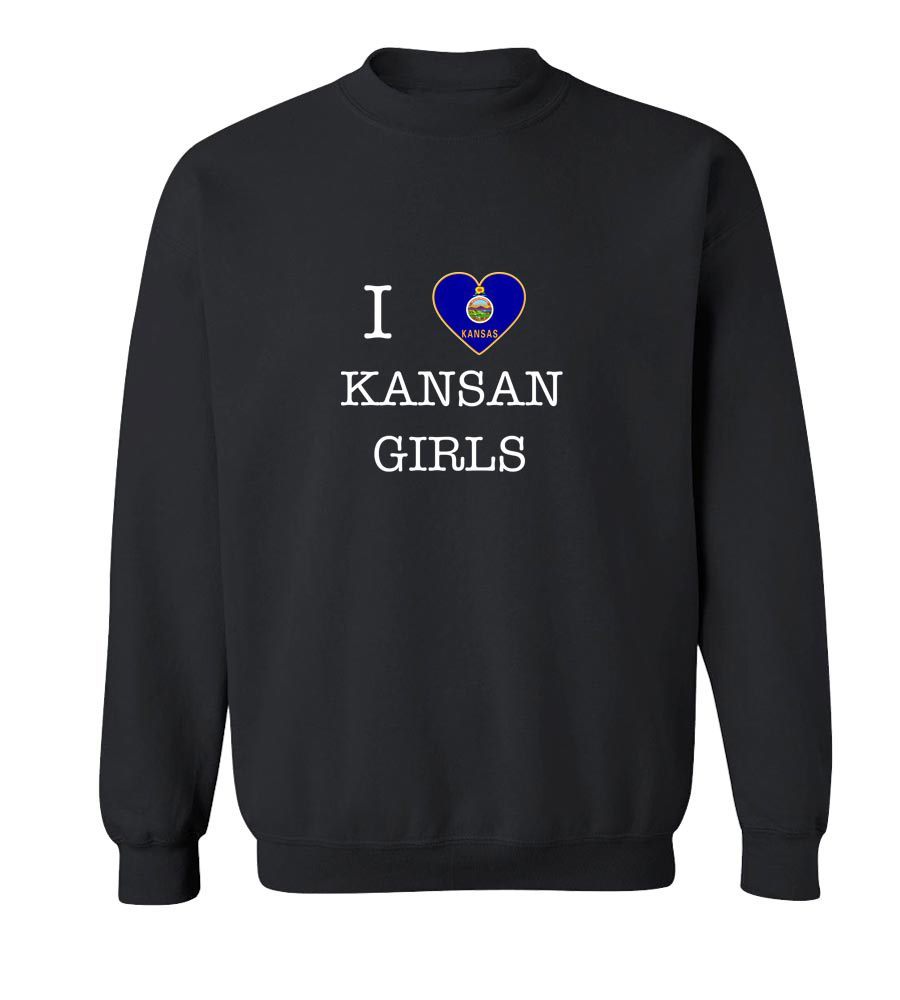 I Love Kansas Girls Crew Neck Sweatshirt