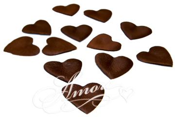 Chocolate Brown Cocoa Heart Shaped Silk Rose Petals Wedding 200