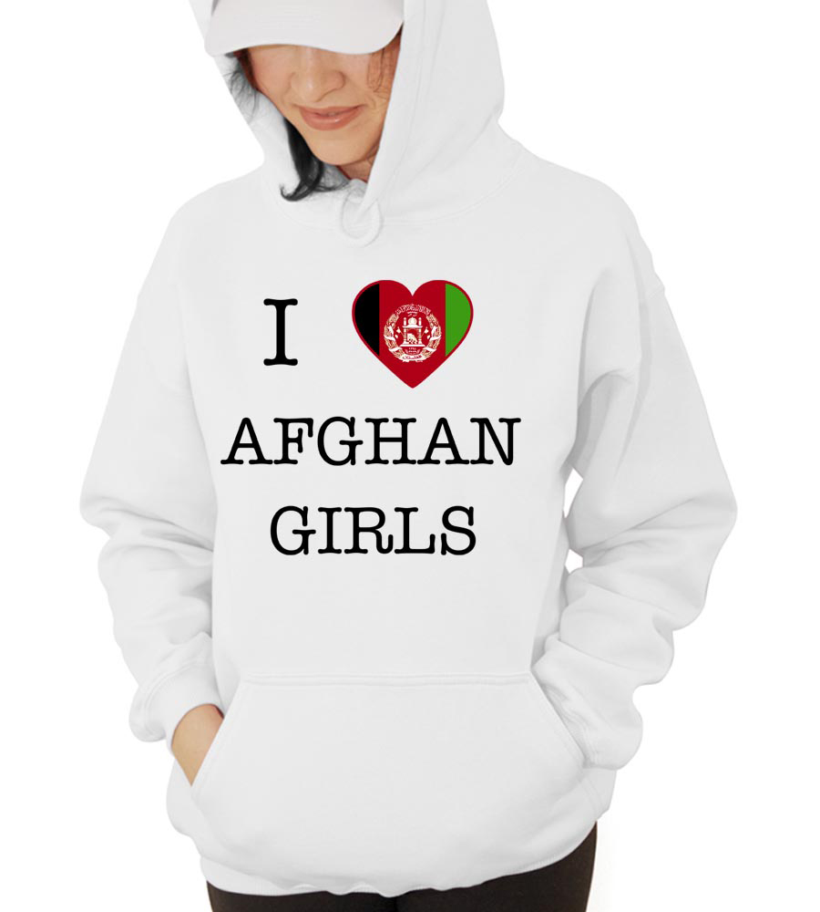 I Love Afghanisthan Girls Hooded Sweatshirt