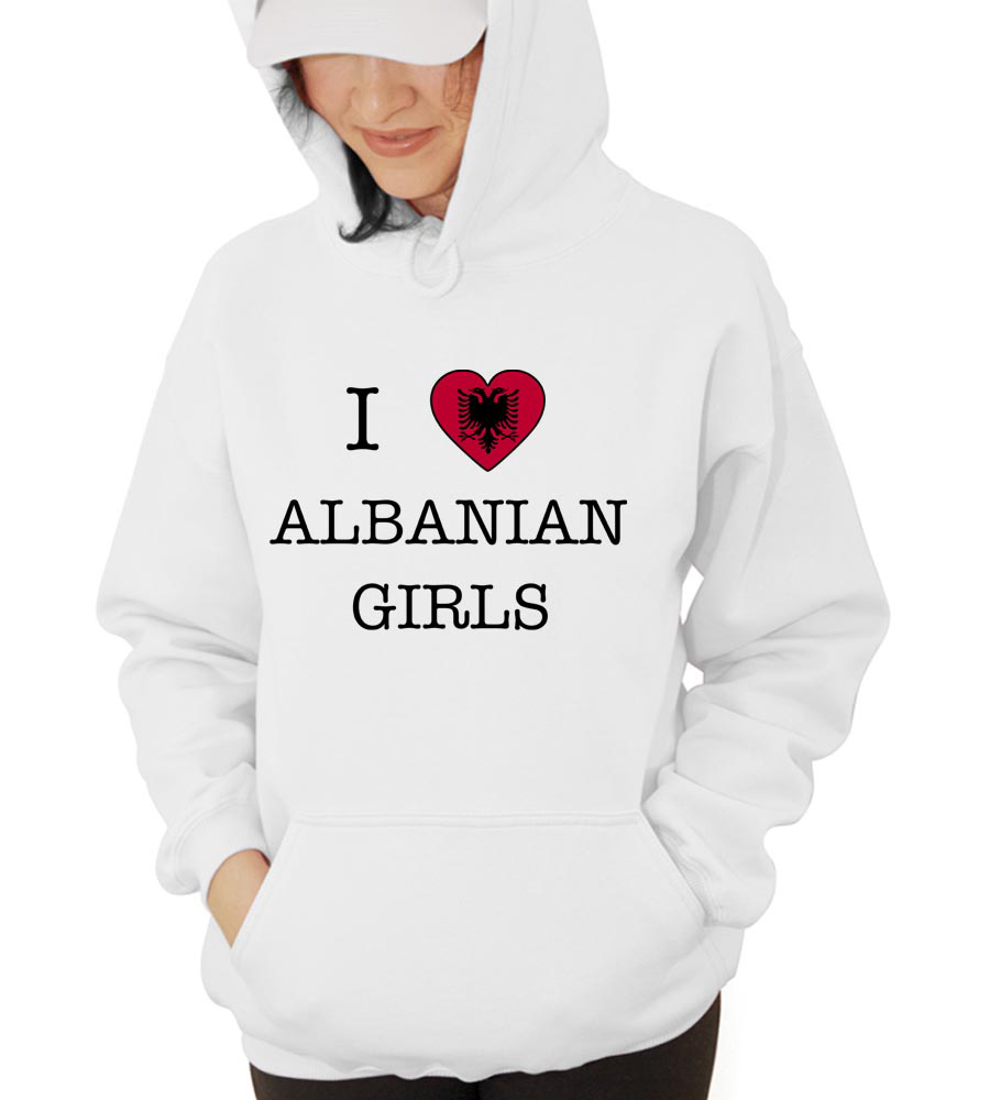 I Love Albania Girls Hooded Sweatshirt