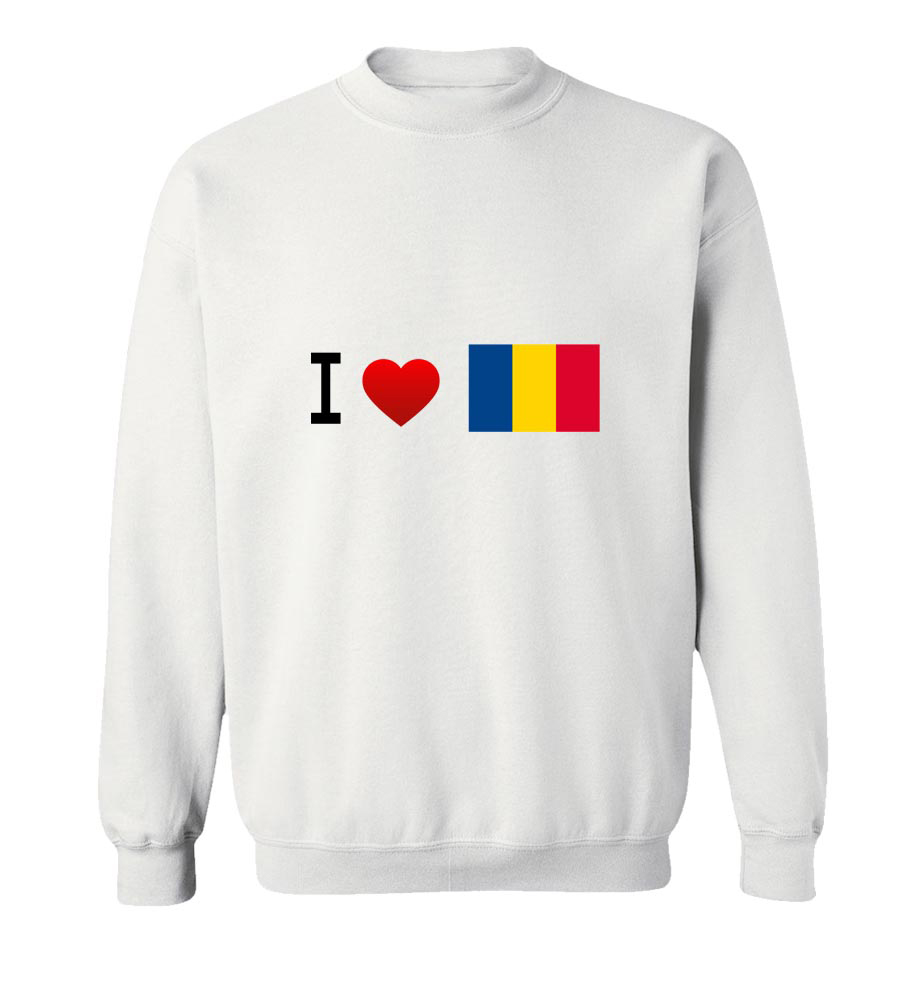 I Love Romania- Flag Crew Neck Sweatshirt