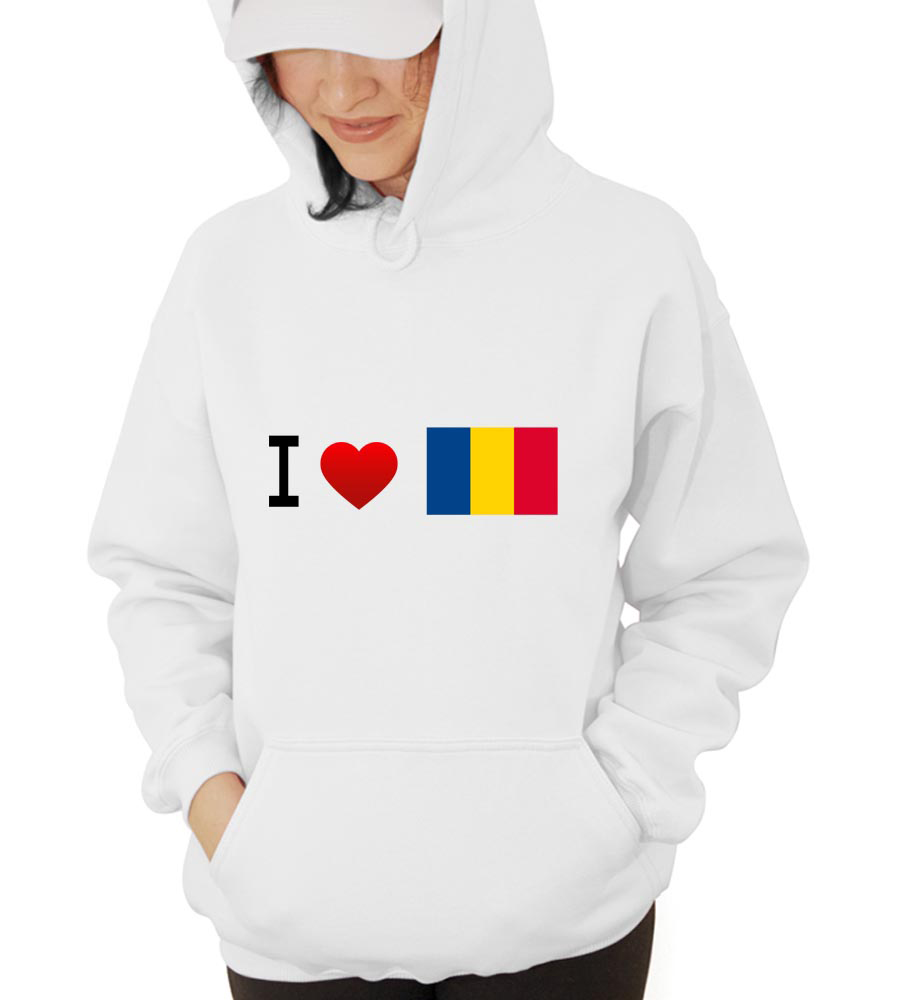 I Love Romania- Flag Husband Hooded Sweatshirt