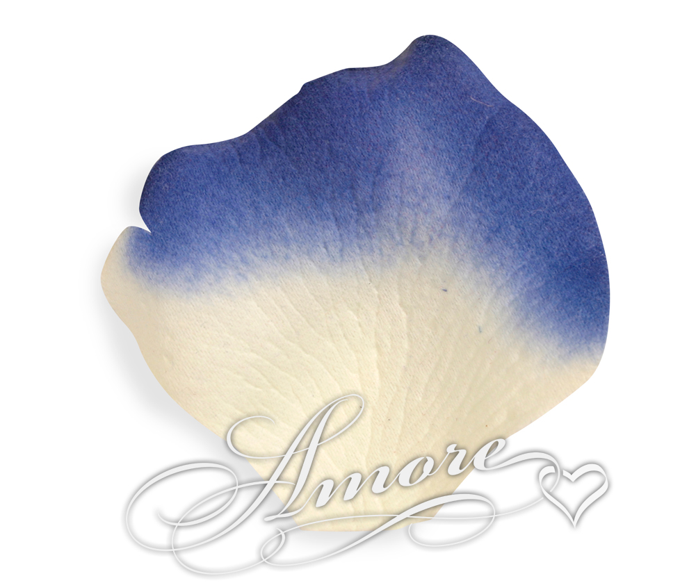 Laguna Light Ivory and Royal Blue Silk Rose Petals Wedding 100