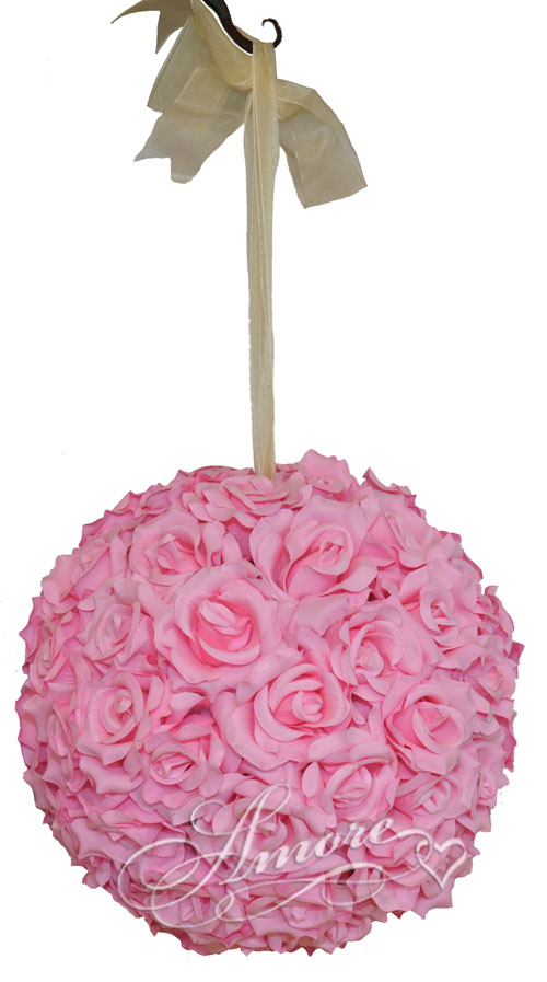 Pink Silk Pomander Kissing Ball Wedding 12 inches
