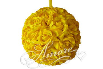 Saffron Yellow  Silk Pomander Kissing Ball Wedding 8 inches
