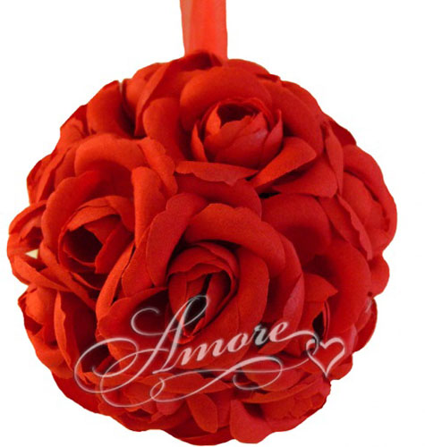 Red  Silk Pomander Kissing Ball Wedding 6 inch