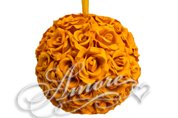 Orange Silk Pomander Kissing Ball Wedding 12 inches