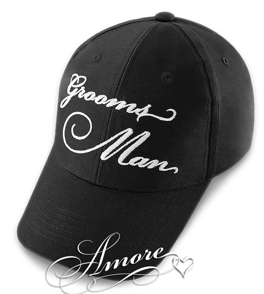 Grooms Man  Wedding Baseball Cap  Black Hat
