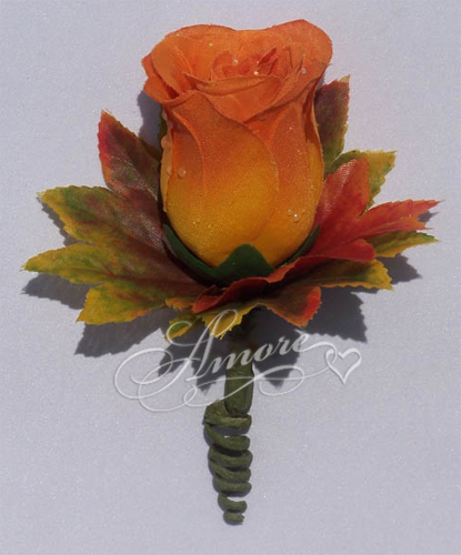Orange Rose Bud Boutonniere with Fall Leaves
