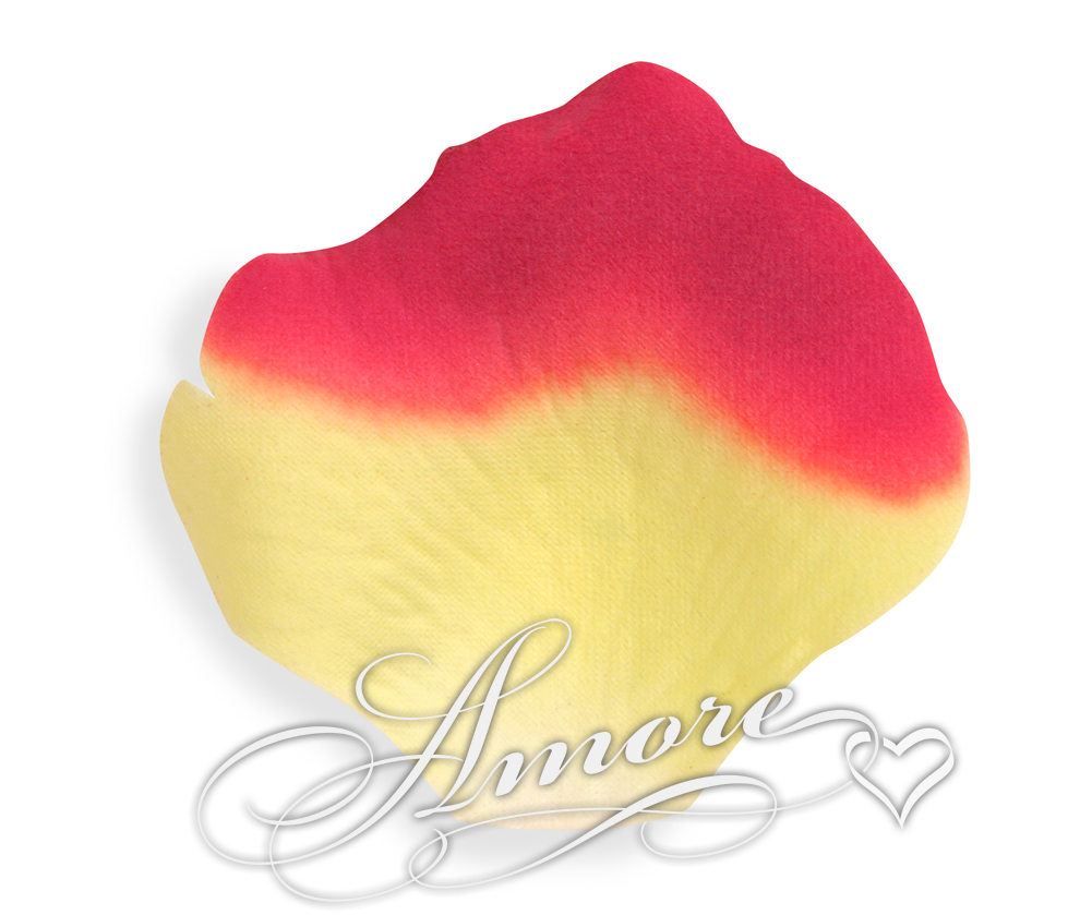 Athena Yellow and Red Silk Rose Petals Wedding Bulk 10000