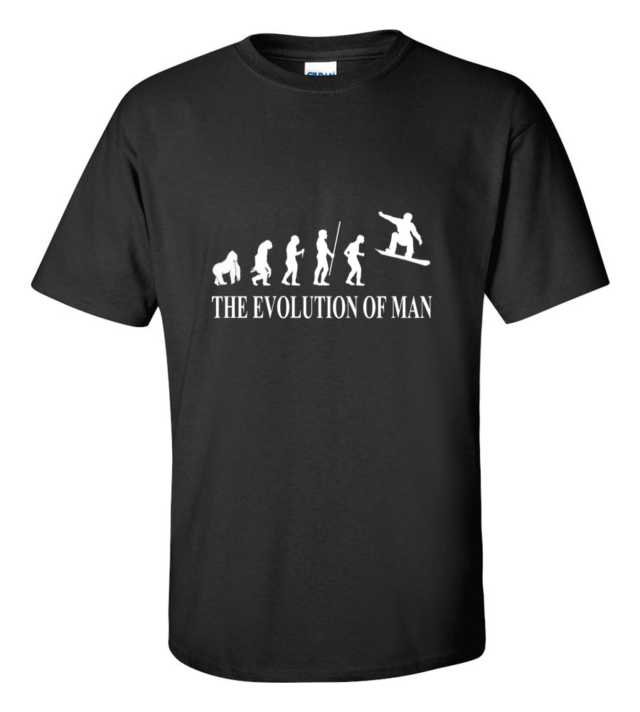 The Evolution of Man Snowboard T Shirt