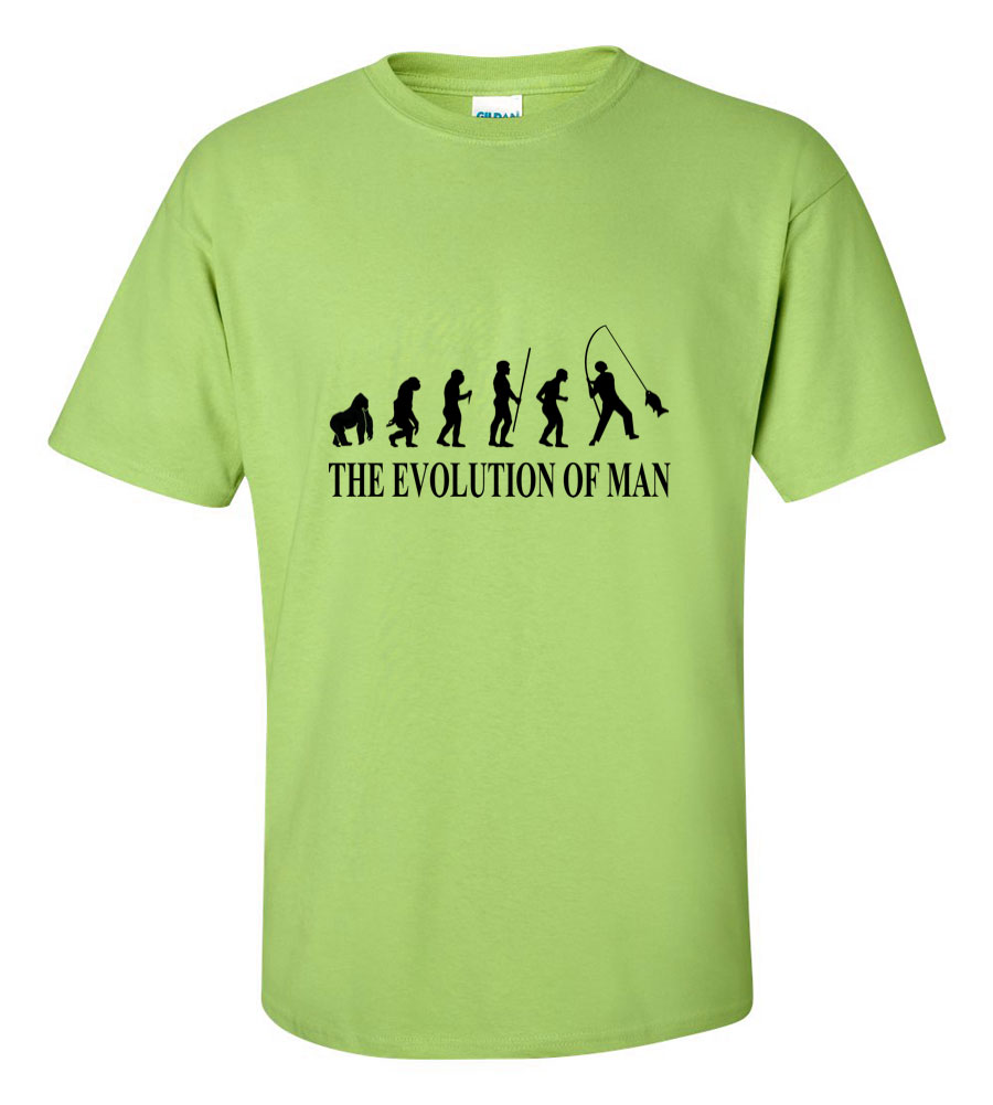 The Evolution of Man Fishing Outdoors T Shirt