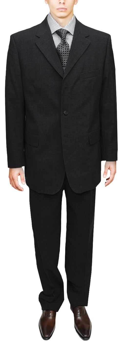 Wedding / Graduation Mens Suit 3 Button Modern Business Fit Black Suit