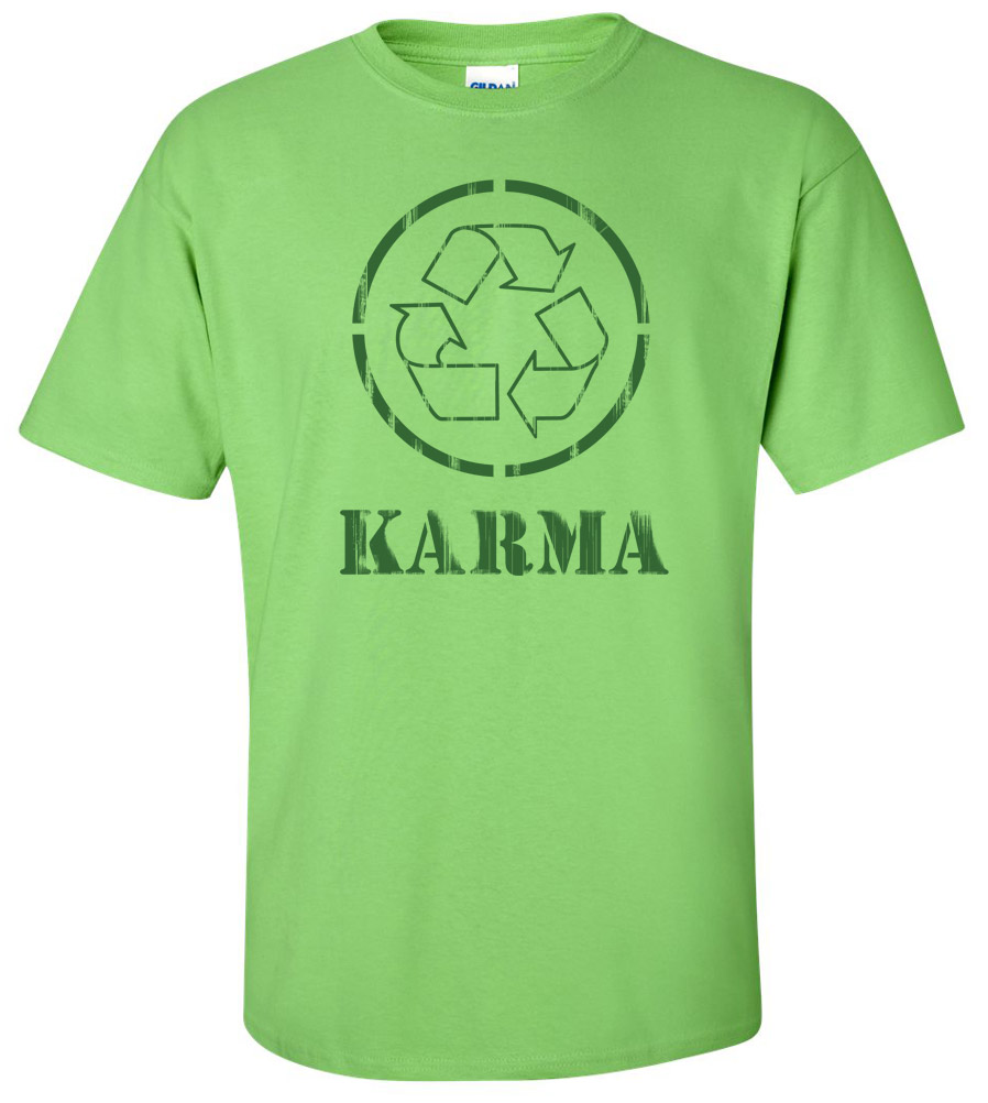 Karma Yoga Meditation Peace Aum Recycle Logo T-shirt New Tee