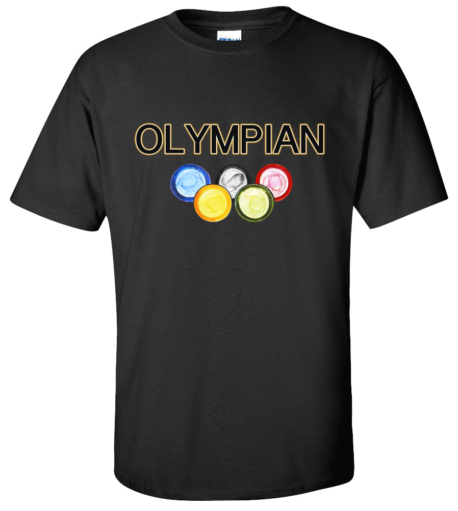 Offensive T-Shirt Olympian Condoms Rude Tee Funny Vulgar T-shirt Funny Drugs Sex Cool Tee