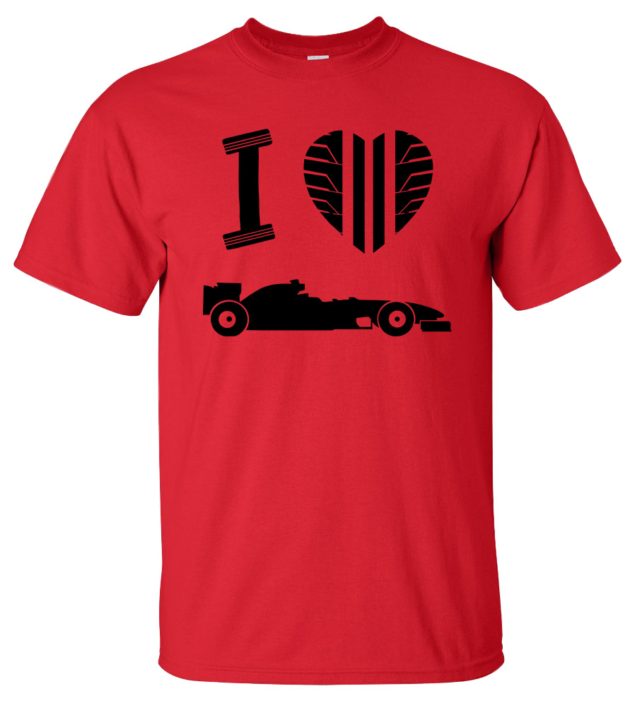 Tire Profile Heart I love Formula 1 T-shirt Super Fast and Furious Tee