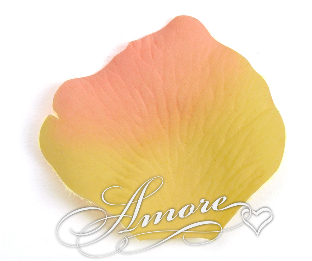 Peach Yellow Apricot Silk Rose Petals Wedding Bulk 10000
