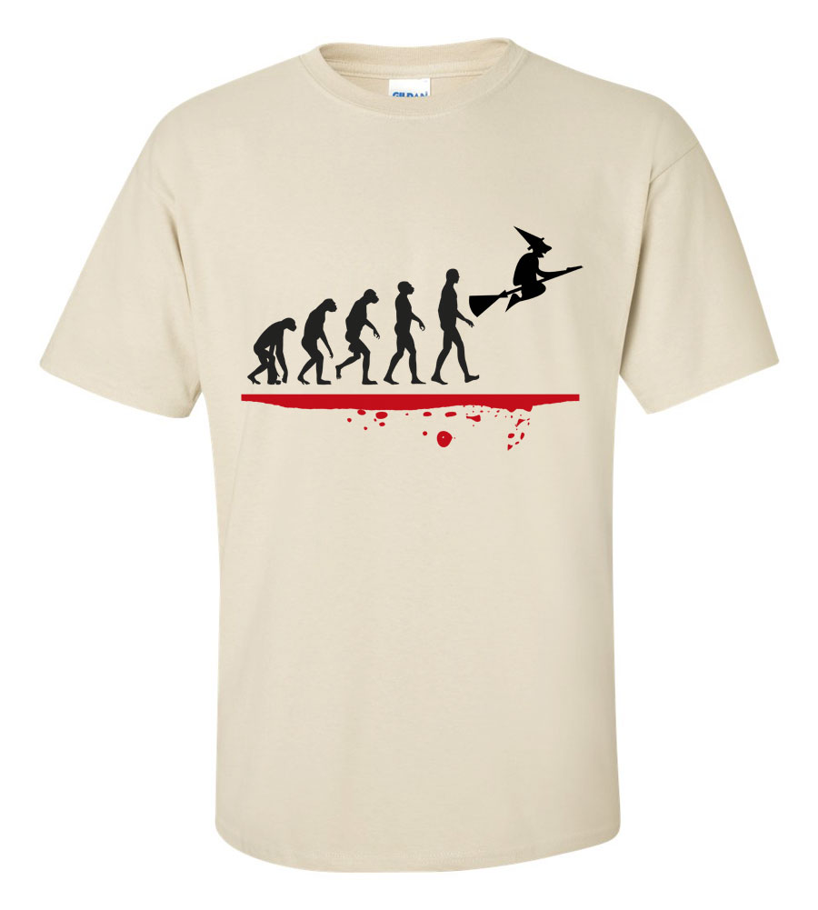 Halloween Man Evolution Witch T-shirt Funny Scary
